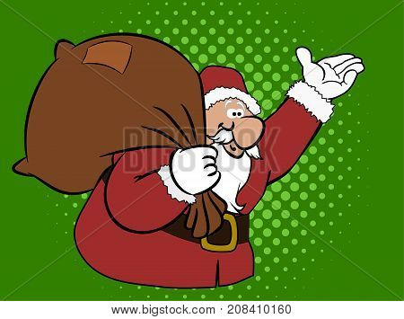 Cheerful Santa Claus on a green background vector illustration