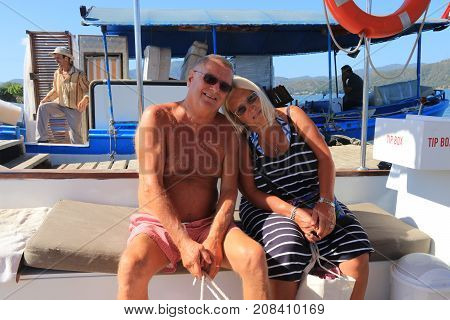 28TH JULY 2017, FETHIYE,TURKEY: A mature couple still in love and on vacation in turkey, 28th july 2017