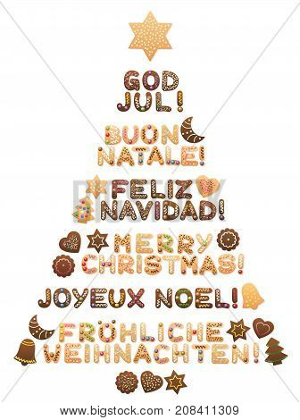 MERRY CHRISTMAS - written in swedish, italian, spanish, english, french and german language with cookies forming a sweet christmas tree.