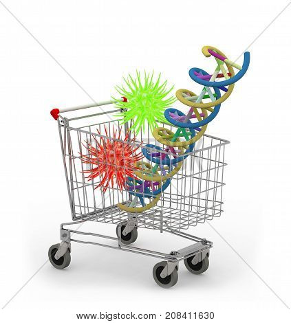 Shopping Cart With Dna Molecule And Virus Inside