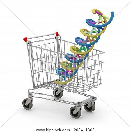 Shopping Cart With Dna Molecule Inside