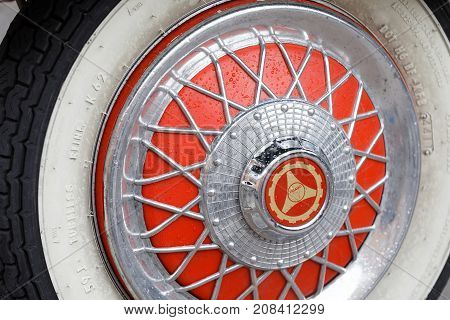 STOCKHOLM SWEDEN - SEPT 02 2017: Closeup of a wheels on retro vespa scooter from the 60s at the Mods vs Rockers event at the Saint Eriks bridge Stockholm Sweden September 02 2017