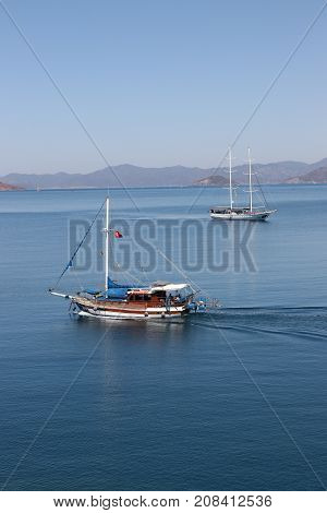 28TH JULY 2017: Motorboats in the calm waters at calis,Fethiye in Turkey ,28th July 2017