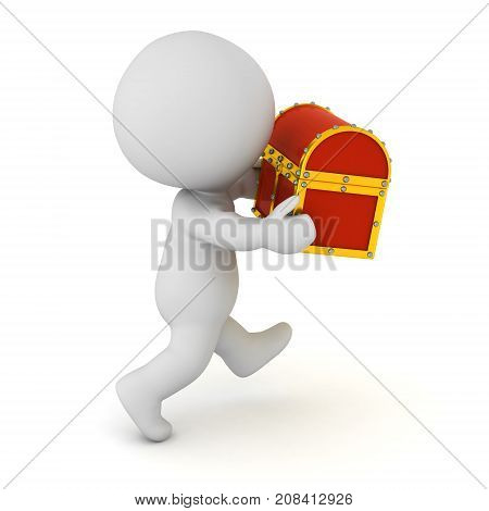 3D character running with a small treasure chest in his hands. Isolated on white background.