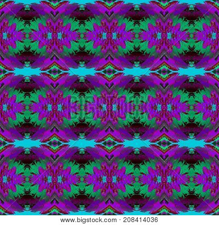 Abstract geometric seamless background. Regular floral pattern purple, violet, light blue, turquoise and dark brown, ornate and conspicuous.