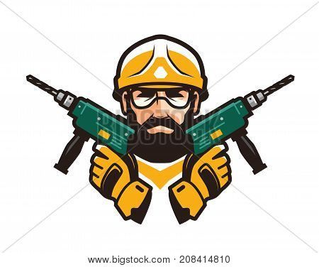 Construction work, repair concept. Builder with tools in hands. Vector illustration isolated on white background