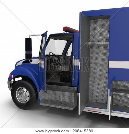 Paramedic Blue Van with opened doors isolated on white Background. 3D Illustration