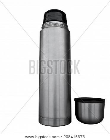 Metal Thermos Flask Isolated