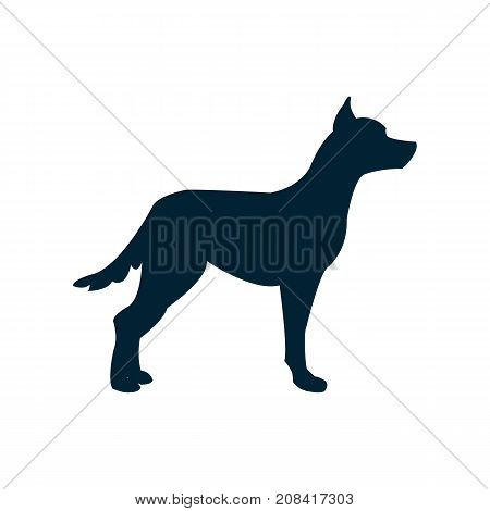 Vector illustration with a dog silhouette.A dog standing in a rack
