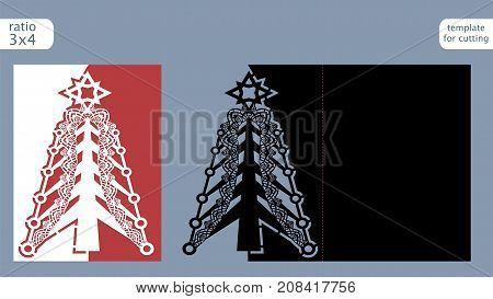 Laser cut out christmas card template. Die cut paper card with pattern of christmas tree . Cutout paper gate fold card for laser cutting or die cutting template. Vector.
