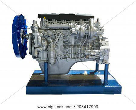Side view of modern internal combustion engine of the truck
