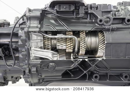 Cutaway gearbox of the truck showing inside