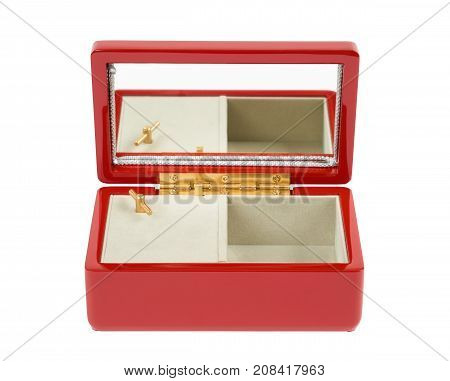 Japanese lacquered red music box for jewelry isolated on white background