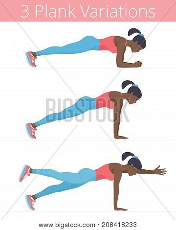 Beautiful black young women are doing the plank exercises. Flat illustration of afro-american sporty girls are training in the plank positions: forearm, push up, two-point. Vector active people set.