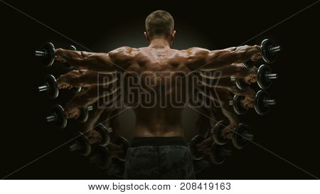 Multiexpose Shot Dumbbell Lateral Raise Workout Bodybuilder Turning Back Raising Hands Pumping Up Sh