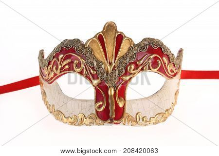 Venetian carnival mask isolated on white background