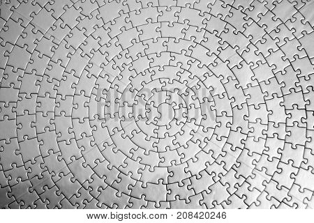 Unicolour puzzle close up. Silver puzzle, special patten puzzle, circular puzzle