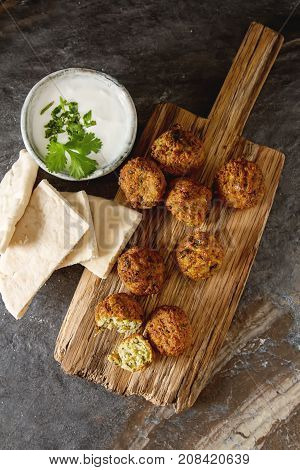 Middle Eastern Traditional Dishes. Falafel With Sour Cream. Vege