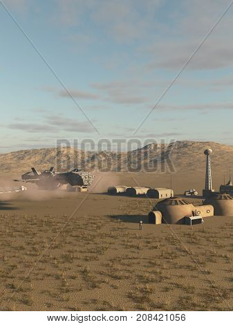Science fiction illustration of an interstellar spaceship delivering supplies to a research post on a desert planet, digital illustration (3d rendering)