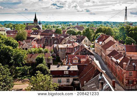 Aerial view of latvian city Kuldiga. Street architecture panorama. Kuldiga is a small town in western Latvia