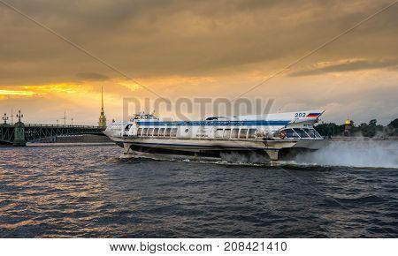 ST PETERSBURG, RUSSIA - SEPTEMBER 12: Meteor 202 hydrofoil on September 12, 2017 in St Petersburg, Russia. The ferry runs to Peterhof Palace