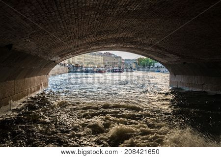 ST PETERSBURG, RUSSIA - SEPTEMBER 12: Canal boat tour on September 12, 2017 in St Petersburg, Russia. There are 342 bridges in the city.