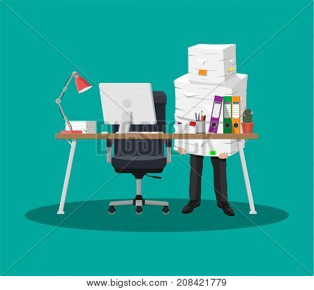 Businessman holds pile of office papers and documents. Documents and file folders on table. Office documents heap. Routine, bureaucracy, big data, paperwork, office. Vector illustration in flat style