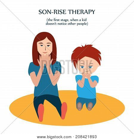 Boy and woman look at their hands. Mother copies action of son with autism to show love and understanding. Son-rise method of autism treatment, first stage, when a kid has not notice other people yet.