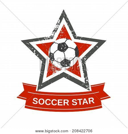 Star icon concept. Freehand drawn style. Soccer ball emblem logo template. Design idea for badge banner background. Scratched textured sign. Element for sport football match game. Vector illustration