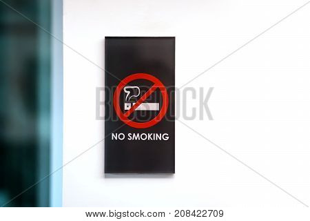 no smoking sign in a hotel room