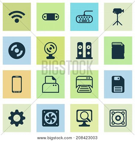 Hardware Icons Set. Collection Of File Scanner, Laptop, Camcorder And Other Elements