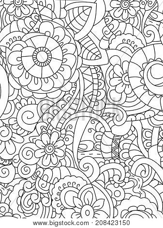 Pattern flower coloring book for adults raster illustration. Anti-stress coloring for adult. Zentangle style. Black and white lines. Lace pattern