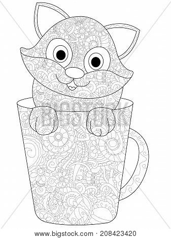Kitten in a cup coloring book for adults raster illustration. Anti-stress coloring for adult cat. Zentangle style. Black and white lines. Lace pattern feline