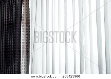 white soft curtain in a hotel room