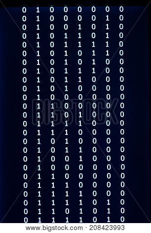 Digital binary data on computer screen. Close-up with small dept