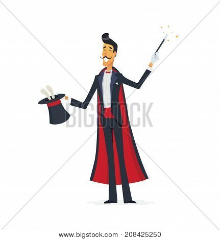 Magician doing a hat trick - cartoon people characters isolated illustration. Young, stylish and bright wizard with mustache in a suit performing. Magic wand in his hand
