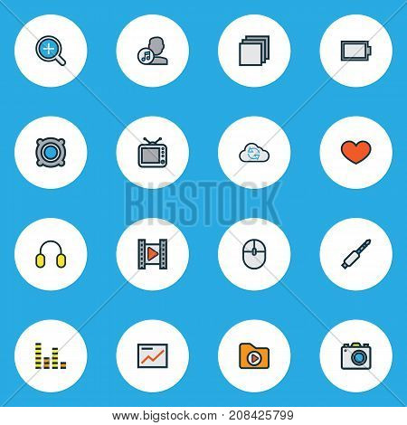 Multimedia Colorful Outline Icons Set. Collection Of Composer, Amplifier, Group And Other Elements