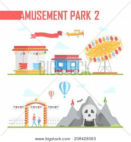 Set of amusement park elements - modern vector illustration on white background. Horror show, ticket office, carousel, airplane, entrance, attraction. Entertainment concept