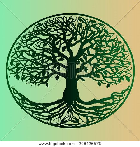 Vintage green gradient tree of life on a beautiful gradient background. Ready poster for printing. Ecology and the environment