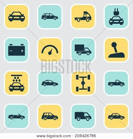 Automobile Icons Set. Collection Of Automobile, Convertible Model, Carriage And Other Elements