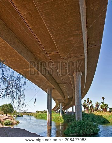 Under Interstate 8 in Yuma at the Colorado River