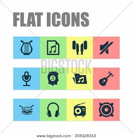 Music Icons Set. Collection Of Dossier, Silence, Megaphone And Other Elements