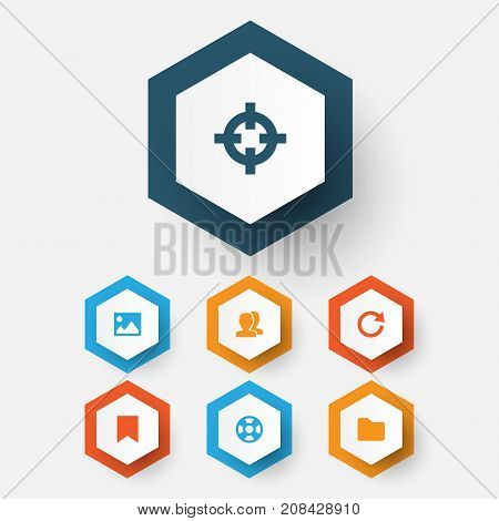 User Icons Set. Collection Of Picture, Dossier, Mark And Other Elements