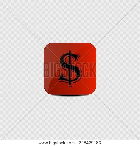 Currency of USA - dollar on a red background. Vector illustration.