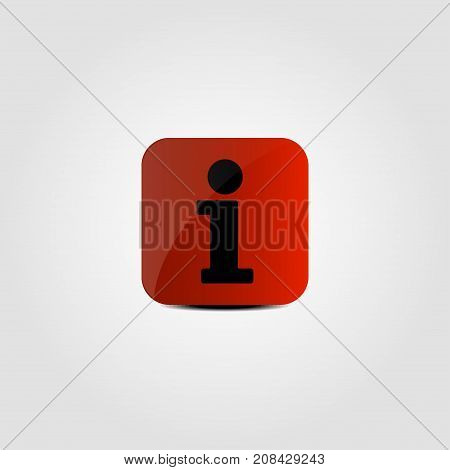 Information icon on a red background. Vector illustration.