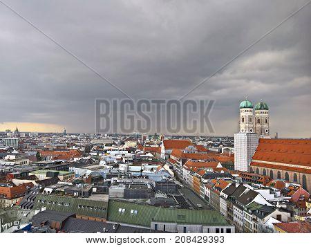 Aerial view of Munchen: Marienplatz, New Town Hall and Frauenkirche