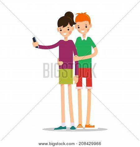 Man and woman do selfie. Friends do joint self-portrait photograph. Happy smiling young man and women taking selfie photo. Illustration in flat style. Isolated