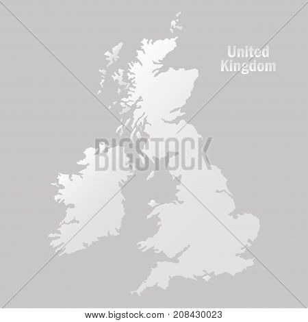 Territory of United Kingdom on a grey background. Vector illustration.