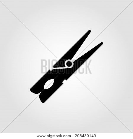 Clothespeg icon on a grey background. Vector illustration.
