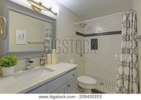 Freshly Renovated Bathroom With Walk-in Shower